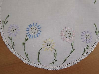 Vintage Doily Flowers Hand Embroidered Linen