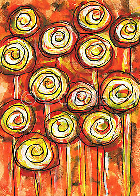 ACEO Ltd.Ed.Print Original Abstract Flowers Floral Roses FA040 Art Painting