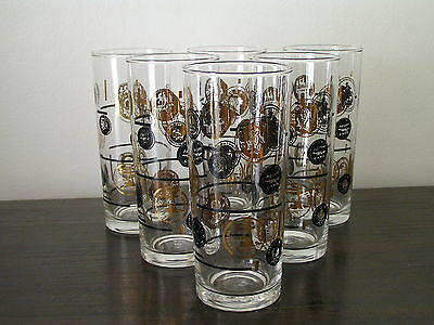 Set of Six Retro Highball Tumbler Drinking Glasses Black and Gold Coin