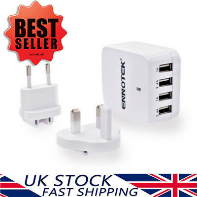 Ennotek® 4-Port USB Travel Wall Charger with Interchangeable UK/EU/US Plugs