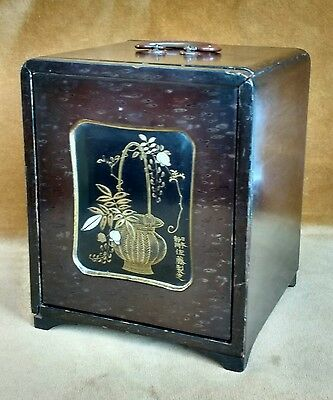 Antique Japanese miniature Kodansu in Lacquer and Parquetry. Rectangular form.