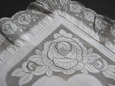 antique german pillow case with beautiful swiss lace in grey colour