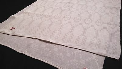 old large heavy linen Towel with geometric pattern