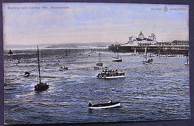 Old Postcard - Boating And Central Pier, Morecambe, Lancashire