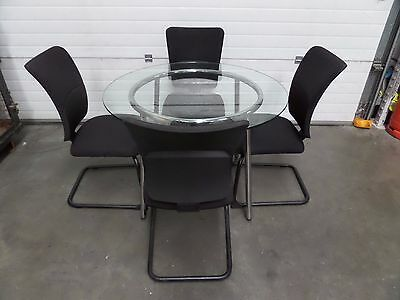 Ikea Glass Round Meeting Room Table with Chrome Frame