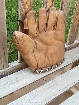 RARE Antique Old 1930's Early Circa Tunnel Loop Leather Baseball Glove Vintage