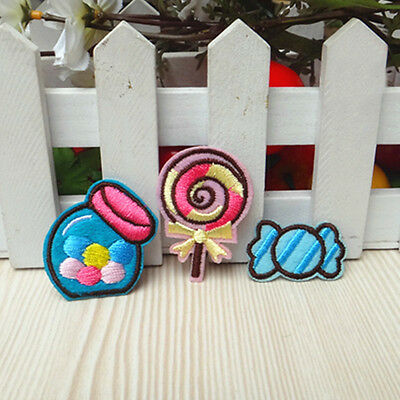 3pcs Embroidered Iron Sew On Patch Badge Sweet Candy Motif Bag Fabric Applique