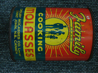 CROSBY's Family Brand MOLASSES tin can  1lb 10oz SIZE ADVERTISING TIN vintage