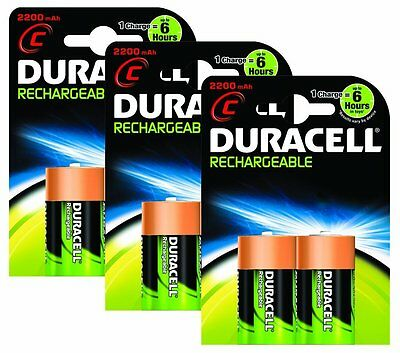 Duracell Rechargeable C Size Batteries--Pack of 6. (£3.33 each)