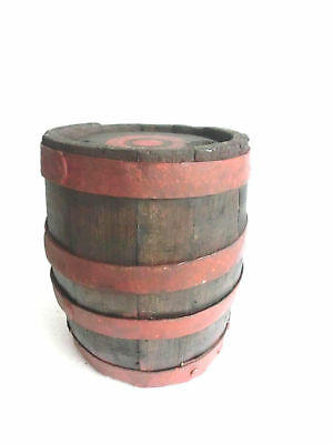 """Antique Wood Barrel/ Keg/ Canteen Whisky/ Wine 4 Iron Bands 9.72""""Tall Primitive"""