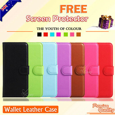 Leather Wallet Flip PU Case Cover for Telstra 4GX Plus + FREE Screen Protector