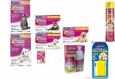 Johnsons 4 Fleas Tablets Cat Dog 3 & 6 Treatment Fleacomb Household Spray Fogger