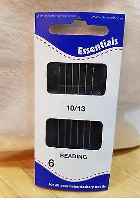 Beading Needles By Whitecroft- Size 10/13 Pack Of 6 Good Quality Free Uk Post