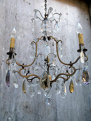 Imposing Antique French Bronze Bird Cage Chandelier. Amethyst & Ambre Crystals