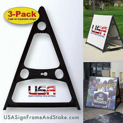 "A-Frame Double-Sided Sign Frame - Holds 18""x24"" to 36""x60"" Substrates (3-Pack)"