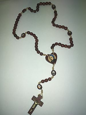Beautiful Vintage Wood Rosary With Saint Bernadette Soubirous And Box