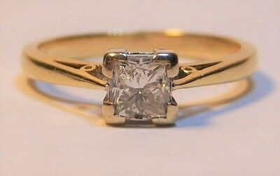 18ct Gold 0.50ct Princess Cut Diamond Solitaire Ring Size N