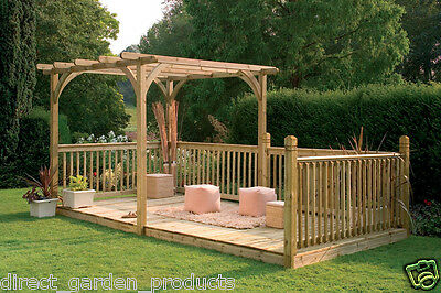 16ft x 8ft WOODEN PERGOLA DECK PRESSURE TREATED TIMBER DECK/SHELTER RAILINGS NEW