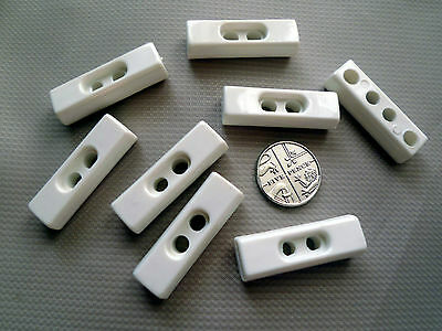 9 White Oblong Toggles / Buttons 32 mm
