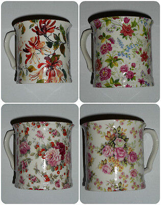 BN Shabby Chic Vintage Style Small Cream Pottery Tankard, Boxed, Floral Mug