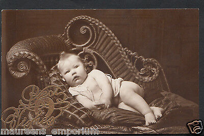 Genealogy Postcard - Ancestors Photo - Real Photo of Baby In Ornate Chair RS84