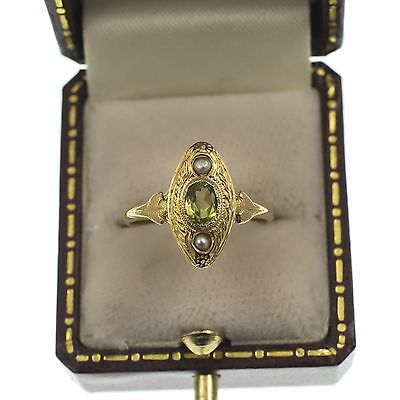 Gorgeous Antique French Peridot & Pearl Ring 18Ct Gold