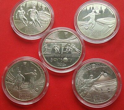 Football EURO 2012 Ukraine Collection of 5x Commemorative Coins special UNC