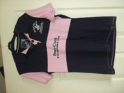ladies size 16 pink/navy beverley hills short sleeve polo shirt