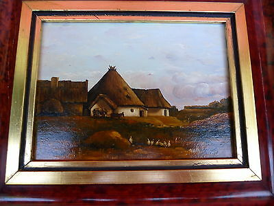 Pretty, old painting__Landscape with Yard __Signed: K. ZS