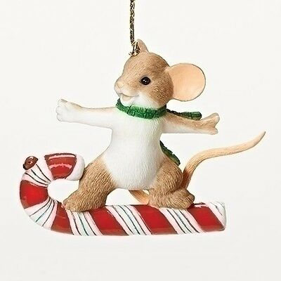 Charming Tails Christmas Mouse Surfing Candy Cane Ornament Christmas NEW 30386