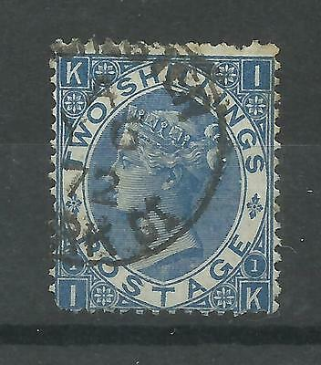 1867/80 Sg 118, 2/- Dull Blue (IK) Plate 1 with CDS Cancel, Good used.