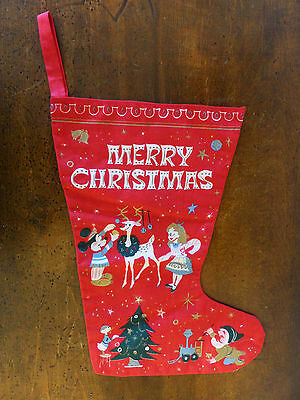 RARE Vintage 1950s Disney MICKEY MOUSE Donald Duck Elves CHRISTMAS Stocking NOS
