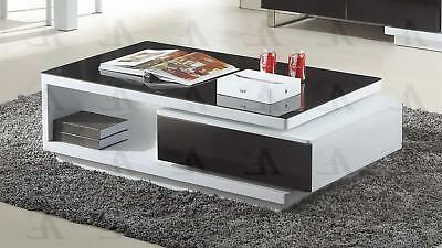 American Eagle CT-C535 Black White Tempered Glass Top Coffee Table