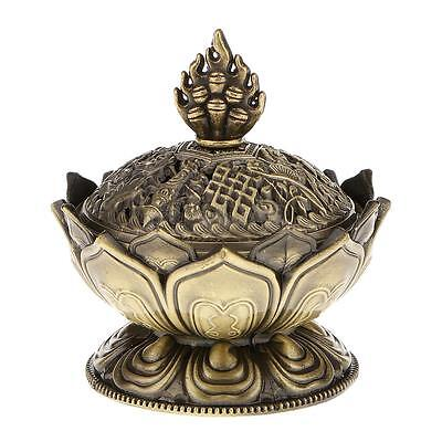 Lotus Cone Holder Backflow Aroma Smoke Incense Burner Censer Bronze