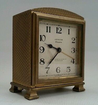 Vintage 1935 Art Deco Zenith 8 Day Swiss Made Alarm Travel Desk Clock Plymouth