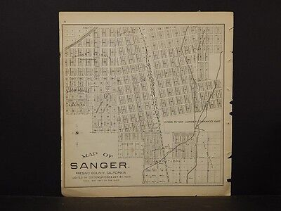 California, Fresno County Map, 1891, Sanger, Double Sided, !K2#51