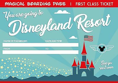 2 Printable Boarding Pass Tickets to Disney World / Disneyland. You Fill & Print