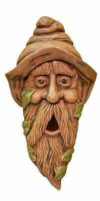 NEW Wood Spirit rustic Carved Bird House Birdhouse Sleepy Garden Gnome Whimsical