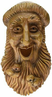 NEW Wood Spirit Rustic Carved Hand Painted Bird House Birdhouse Knome Whimsical
