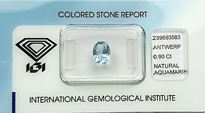 Aigue Marine 0.90 carats - Natural Aquamarine Certified IGI