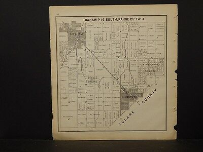 California Fresno County Map 1891 Kingsburg Selma Township 16 Double Side !K2#58