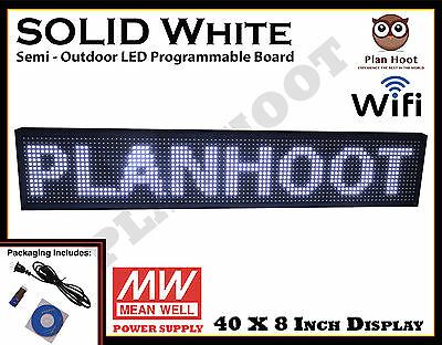"40""X8"" LED WHITE PROGRAMMABLE SCROLLING SIGN Wifi USB APP SEMI OUTDOOR INDOOR"