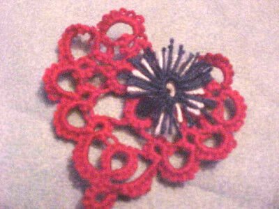 4 Tatted Red Heart Applique, Crazy Quilts, Scrapbooks Tatting by Dove Country