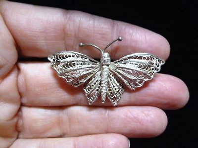 Authentic Vintage-Sterling Silver Butterfly Filigree Brooch/Pin