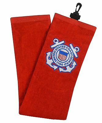 New 2017 Hot-Z US Military Golf Towel, COLOR: CG Red, BRANCH: U.S. COAST GUARD