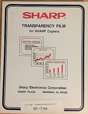 Sharp Transparency Film, SF-74A  Box of 100 Clear Transparencies