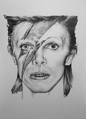 Original A4 pencil drawing - Music legend and icon DAVID BOWIE fan art