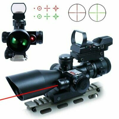 UUQ Tactical 2.5-10X40 Rifle Scope w/ Red Laser & Green / Red Dot