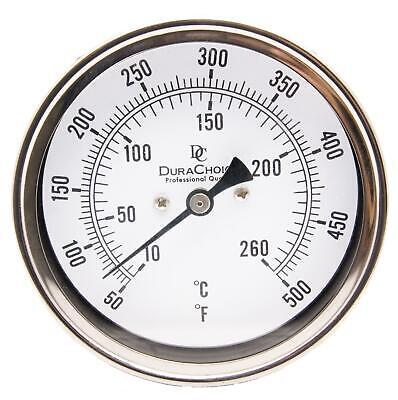 "Industrial Bimetal Thermometer 5"" Face x 2-1/2"" Stem, 50-500F w/Calibration Dial"