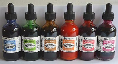Dr Ph Martin's Radiant Concentrated Watercolour Ink Bundle 6 x 2oz Bottles, New